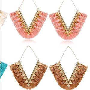 V shaped Tassel Dangle Earrings